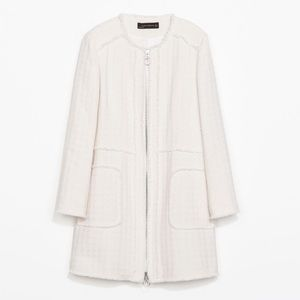 BRAND NEW!  Zara White Textured Spring Coat